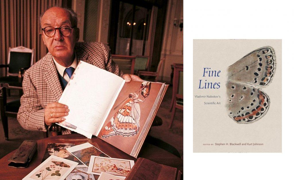 Nabokov näyttää kirjaa, jossa kuva perhosesta, edessä piirroksia, Fine lines kirjan kansi.